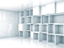 Intérieur 3d bleu-clair abstrait avec des étagères de cubes Illustration Libre de Droits