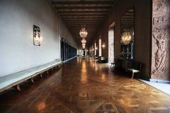 Intérieur d'hôtel de ville à Stockholm images libres de droits