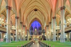 Intérieur d'Oscar Fredrik Church à Gothenburg, Suède Photographie stock libre de droits
