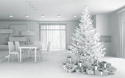 Intérieur d'un appartement blanc avec le rendu de l'arbre de Noël 3d Photo libre de droits