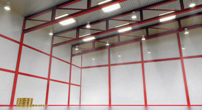 Intérieur d'un entrepôt vide avec la construction de couleur Images libres de droits