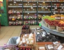 Intérieur d'un marché TX de petit agriculteur photo stock