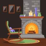 Intérieur d'un salon avec une cheminée et une chaise de basculage image stock
