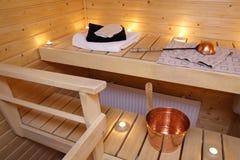 Intérieur d'un sauna finlandais Photos libres de droits