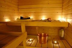 Intérieur d'un sauna finlandais Photo libre de droits