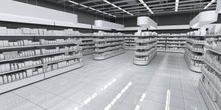 Intérieur d'un supermarché avec des marchandises photographie stock libre de droits