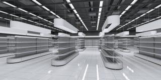 Intérieur d'un supermarché avec les étagères vides photos stock