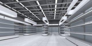 Intérieur d'un supermarché avec les étagères vides images stock