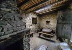 Intérieur d'une cuisine dans une maison rurale antique en Galicie, Spai Photo libre de droits