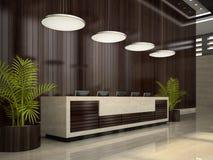 Intérieur d'une illustration de la réception 3D d'hôtel Photo libre de droits