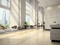 Intérieur d'une illustration de la réception 3D d'hôtel Images stock