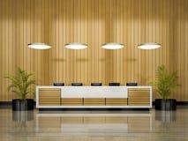 Intérieur d'une illustration de la réception 3D d'hôtel Images libres de droits