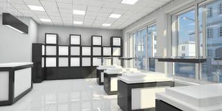 Intérieur d'une petite boutique avec des étagères et des étalages en verre Photographie stock