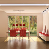 Intérieur d'une salle à manger moderne illustration de vecteur