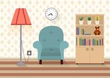 Intérieur d'une salle avec des meubles dans le style plat Image stock