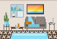 Intérieur d'une salle de séjour Illustration plate moderne de conception Intérieur de salon Photos stock