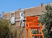 Intérieur d'une terrasse d'été de restaurant où situé près de la mer qui ont le point de vue parfait de mer Images libres de droits