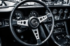 Intérieur d'une voiture de tourisme grande Jensen Interceptor MkII, 1971 photo stock