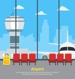 Intérieur de attente d'aéroport de bande dessinée de Hall Card Poster terminal Vecteur Image libre de droits
