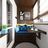 Intérieur de balcon avec le coin salon et la petite table rendu 3d illustration stock