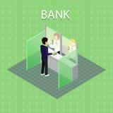 Intérieur de banque avec le caissier illustration libre de droits