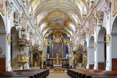 Intérieur de basilique de St Emmeram à Ratisbonne Image libre de droits
