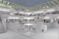 Intérieur de bibliothèque futuriste dans le blanc Photographie stock libre de droits