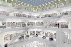 Intérieur de bibliothèque futuriste dans le blanc image stock