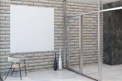 Intérieur de brique avec la bannière vide Images libres de droits