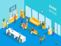 Intérieur de bureau de banque avec la vue isométrique de meubles et de personnes Vecteur illustration stock