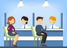 Intérieur de bureau de banque Consultation financière Séance de personne illustration stock