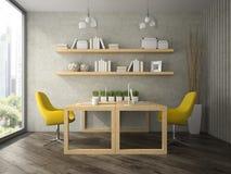 Intérieur de bureau de conception moderne avec deux le rendu des tables 3D Photos stock