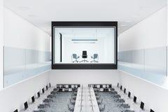 Intérieur de bureau de patron de mur de verre illustration de vecteur