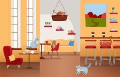 Intérieur de café de chat avec de grandes fenêtres, chaise rouge confortable, tables avec le thé et café Beaucoup de chats sur la illustration libre de droits