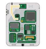 Intérieur de carte des Tablettes et des téléphones d'écran tactile D'isolement sur le fond blanc Photo stock
