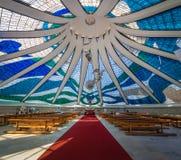 Intérieur de cathédrale de Brasilia - Brasilia, Brésil images libres de droits