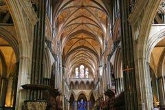 Intérieur de cathédrale de Salisbury Images libres de droits