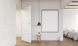 Intérieur de chambre à coucher avec la porte ouverte et la lampe illustration de vecteur
