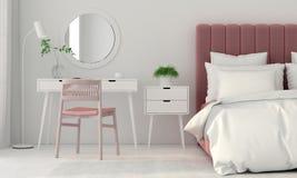 Intérieur de chambre à coucher avec un lit rose Images libres de droits