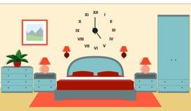 Intérieur de chambre à coucher dans des couleurs bleues et rouges Illustration de vecteur Photographie stock libre de droits