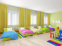 Intérieur de chambre à coucher dans le jardin d'enfants Images libres de droits