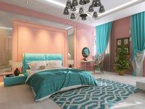 Intérieur de chambre à coucher dans le rose Photo stock