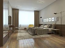 Intérieur de chambre à coucher dans le style contemporain Image libre de droits