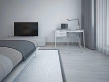 Intérieur de chambre à coucher dans le style minimaliste Images libres de droits