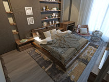 Intérieur de chambre à coucher dans le style moderne Photos libres de droits