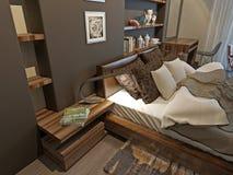 Intérieur de chambre à coucher dans le style moderne Photographie stock
