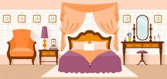 Intérieur de chambre à coucher dans un style plat Photographie stock libre de droits