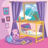 Intérieur de chambre à coucher de filles Illustration plate de vecteur de bande dessinée de style Pièce de bébé dans le rose Pièc photo libre de droits