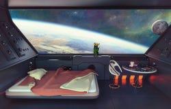Intérieur de chambre à coucher de la science fiction images libres de droits