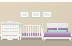 Intérieur de chambre à coucher Illustration plate de vecteur Image libre de droits
